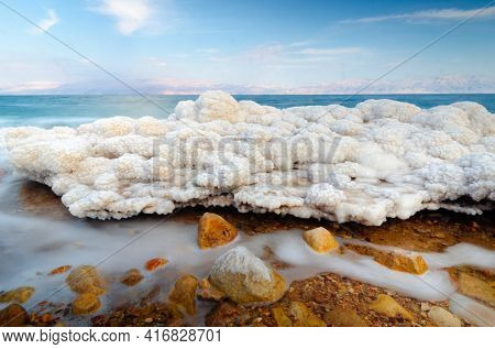 Salt formations in the Dead sea of Israel.