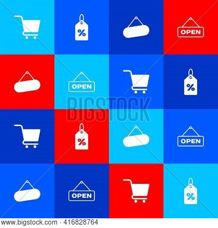 Set Shopping Cart, Discount Percent Tag, Signboard Hanging And Hanging Sign With Open Door Icon. Vec