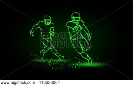 American Football Players. Runaway Player With Ball And The Catching Player Behind. Green Neon Ameri