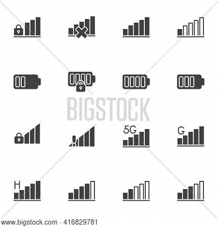 Phone Signal And Battery Vector Icons Set, Smartphone Ui Modern Solid Symbol Collection, Filled Styl