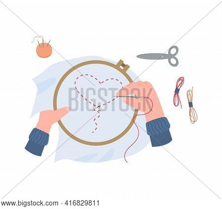 Female Hands Hold Embroidery Frame And Doing Embroidery By Needle With Thread.