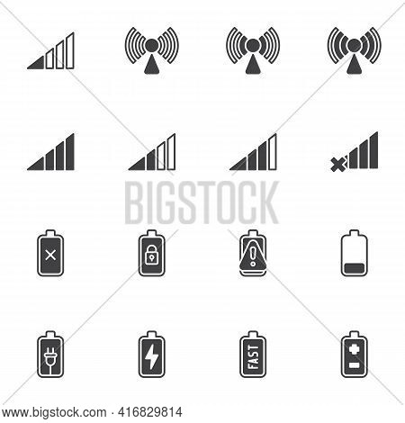 Smartphone Ui Vector Icons Set, Phone Battery And Signal Modern Solid Symbol Collection, Filled Styl