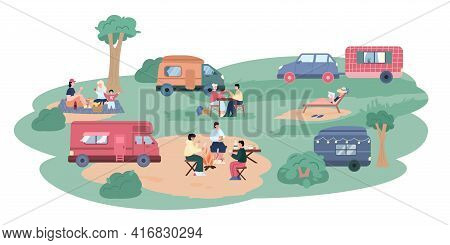 Campsite With Travels Near Trailers, Cartoon Vector Illustration Isolated.