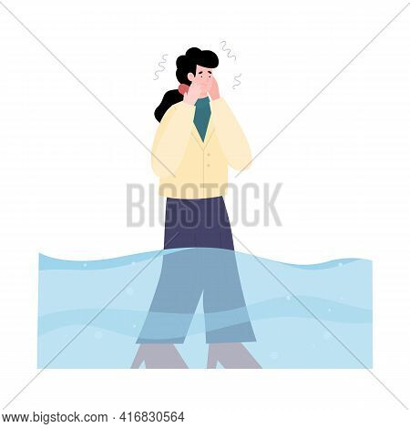 Frightened Young Woman Afraid Water, Suffering Mental Disorder Hydrophobia.