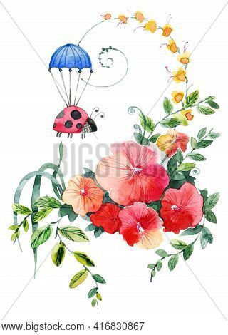 Cute Illustration Of Flowers Bouquet And Ladybug Flying On Parachute. Design For Greeting Card. Draw
