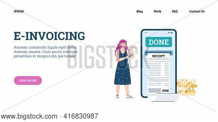 E-invoicing And Online Bill Concept Of Webpage Cartoon Vector Illustration.