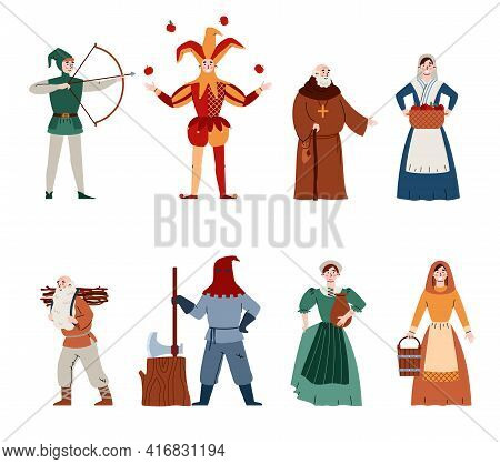 Middle Ages Town And Country Different People Flat Vector Illustration Isolated.