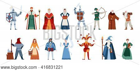 Middle Ages People Of Different Estates Set, Flat Vector Illustration Isolated.