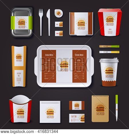 Fastfood Corporate Identity With Set Of Packaging And Tray Visit Cards Notepad And Pen Isolated Vect