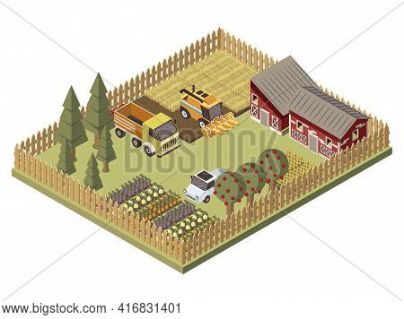 Farm Vehicles Isometric Design With Agricultural Buildings Cultivated Lands Apple Trees Garden Beds