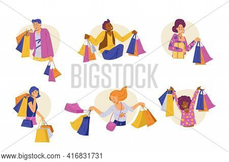 Half Figures Of Shoppers Characters With Bags, Flat Vector Illustration Isolated.