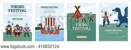 Viking Festival Invitation Banners Or Posters Set, Flat Vector Illustration.