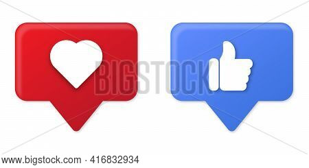 Thumb Up And Heart Icons. Modern Social Media Vector Icons. Design Elements For Social Network, Mark