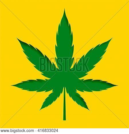 Papercut Style Marijuana Cannabis Leaf Design Background