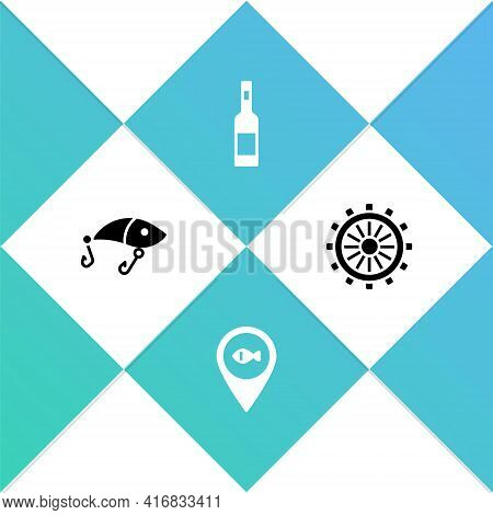 Set Fishing Lure, Location Fishing, Bottle Of Vodka And Ship Steering Wheel Icon. Vector
