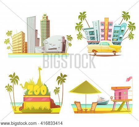 Miami 2x2 Design Concept With Skyscrapers City Zoo Lifeguard Cabin On Beach Cartoon Compositions Fla