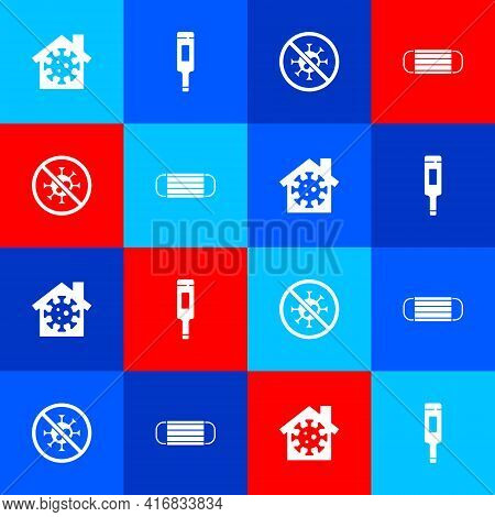 Set Stay Home, Medical Thermometer, Stop Virus And Protective Mask Icon. Vector