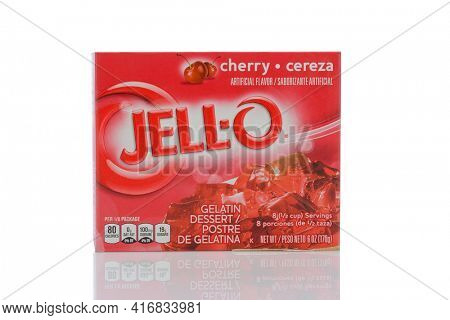 IRVINE, CALIFORNIA - MAY 22, 2019:   A box of Jell-O Cherry flavored gelatin.