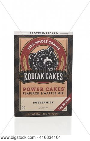 IRVINE, CALIFORNIA - 6 OCT 2020: A box of Kodiak Cakes Flapjack and Waffle mix.