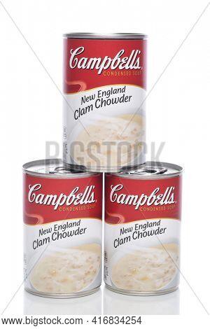 IRVINE, CALIFORNIA - 8 APRIL 2020:  Three Cans of Campbells New England Clam Chowder.