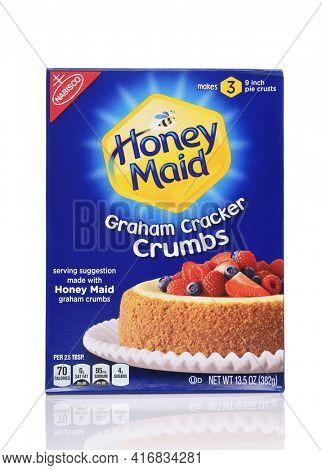 IRVINE, CALIFORNIA - 24 DECEMBER 2019: A box of Nabisco Honey Maid Graham Cracker Crumbs.