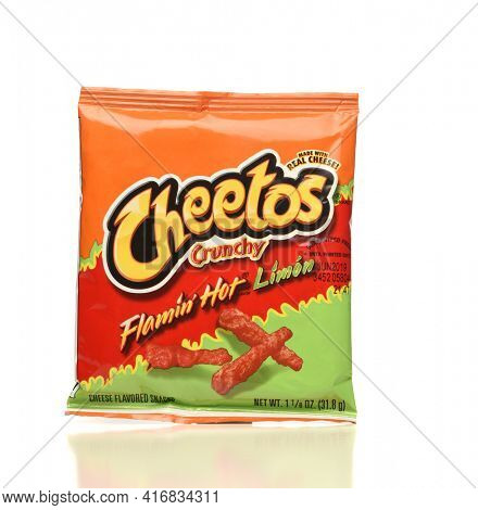 IRVINE, CA - APRIL 4, 2019: A package of Cheetos Flamin Hot Limon cheese flavored puff corn snack, from Frito-Lay.