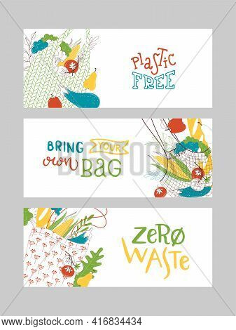 Recyclable Fabric Handbags And Zero Waste Vector Banners Set
