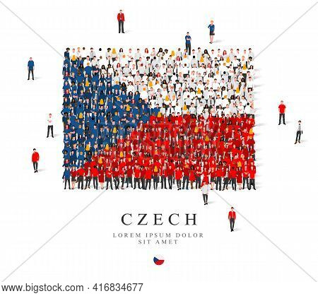 A Large Group Of People Are Standing In Blue, White And Red Robes, Symbolizing The Flag Of The Czech