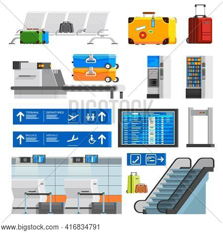 Airport Interior Flat Color Decorative Icons Set With Portmanteaus Suitcases Checkpoint Schedule Sco
