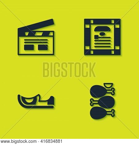 Set Bollywood Indian Cinema, Tandoori Chicken, Indian Shoes And Constitution Day Icon. Vector
