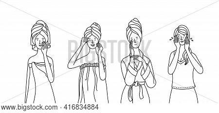 Young Women Wearing Towel, Pajama, And Bathrobe Take Care Of Their Skin