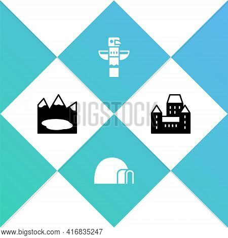 Set Canadian Lake, Igloo Ice House, Totem Pole And Chateau Frontenac Hotel Icon. Vector