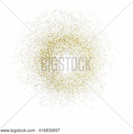 Golden Splash Or Glittering Spangles Round Frame With Empty Center. Golden Glittering Circle.