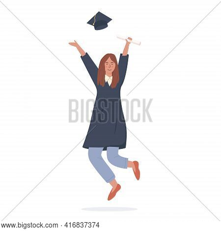 Happy Female Student Joyfully Jumping And Holding Diploma Vector Flat Illustration. Smiling Woman We
