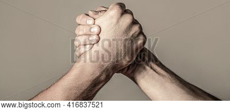 Arms Wrestling. Closep Up. Friendly Handshake, Friends Greeting, Teamwork, Friendship. Handshake, Ar