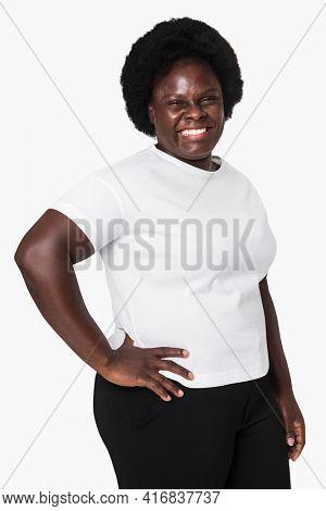Woman wearing minimal white t-shirt