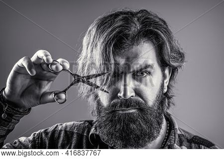 Male In Barbershop, Haircut, Shaving. Bearded Man Isolated On Gray Background. Barber Scissors, Barb