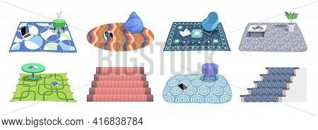 Collection Of Carpets And Rugs. Set Of Floor Mats Of Different Shapes, Colors. Floor Covering