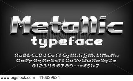 Metallic Alphabet Font. 3d Bold Metal Letters, Numbers And Punctuation With Shadow. Stock Vector Typ