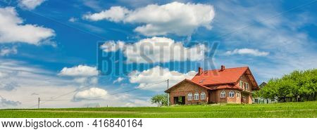 Panoramic view of the countryside on blue sky