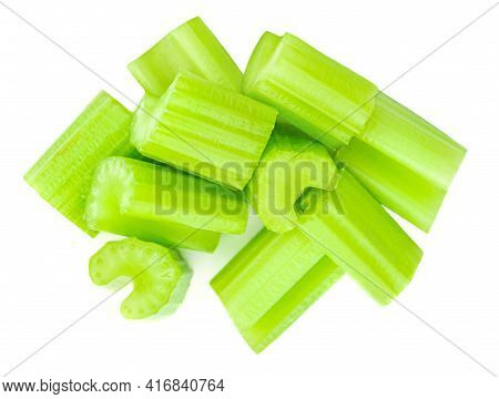 Chopped Celery Sticks. Celery Isolated On White Background. Top View