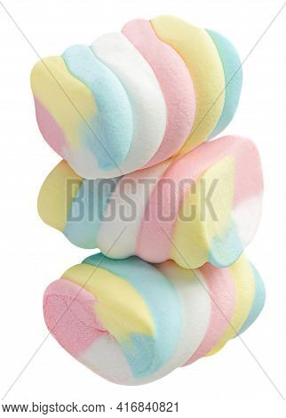 Marshmallow Candy  White, Yellow And Pink Isolated On White Background. Huge, Big And Twisted Marshm