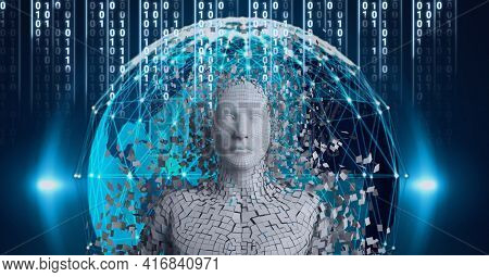 Composition of digital human and globe with network of connections over binary coding processing. global technology, digital interface and data processing concept digitally generated image.