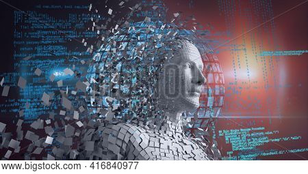 Composition of grey human digital head over data processing. global technology, digital interface and data processing concept digitally generated image.