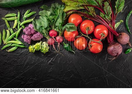 Fresh Vegetable Backgroud, Overhead Flat Lay Shot With Copy Space