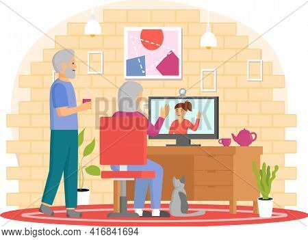 Elderly Parents Sitting At Computer And Talking To Daughter. Online Communication Via Internet