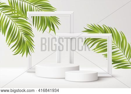 Realistic White Product Podium With White Picture Frames And Green Tropical Palm Leaves Isolated On