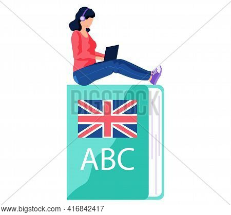 Woman Studying Foreign Language At Laptop. Student At Online Learning On English Dictionary
