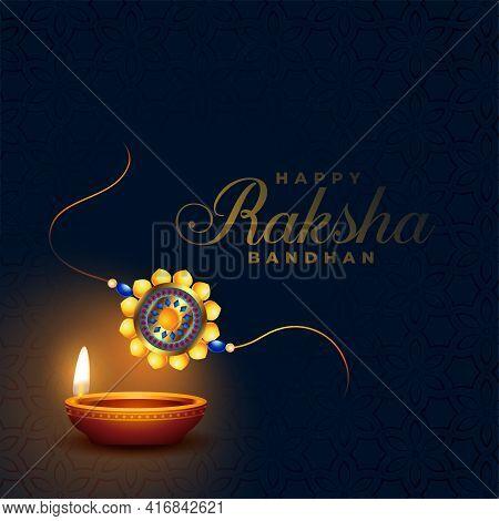 Raksha Bandhan Rakhi Indian Festival With Diya Design