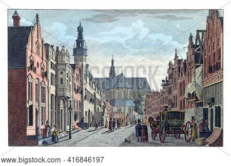 Langestraat in Alkmaar, vintage engraving.